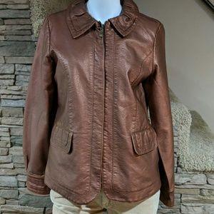 Susan Graver faux leather coat size small